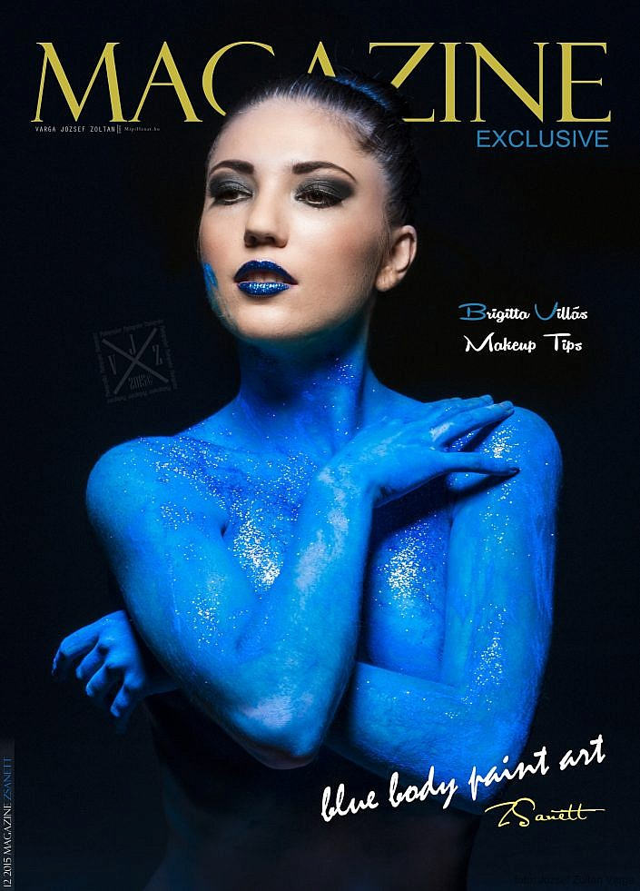 Magazine 2015 12 | Zsanett |Blue body paint art
